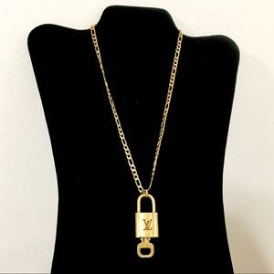 Louis Vuitton Lock and key on Gold Tone Necklace